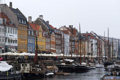 Nyhavn canal and boats  of copenahagen Stock Photography