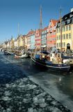 Nyhavn in Copehagen. Nyhavn harbour in winter (Copehagen, Denmark royalty free stock photography