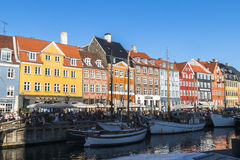 Nyhavn copenaghen dentro Fotografia de Stock