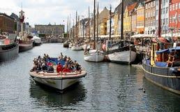 Nyhavn in Copenhagen. Canaltour and summer in Nyhavn in Copenhagen Royalty Free Stock Photography