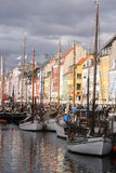 Nyhavn, Copenhagen, Denmark. Nyhavn (Danish pronunciation: [ˈnyhɑʊ̯n]) is a 17th century waterfront, canal and entertainment district in Copenhagen, Denmark royalty free stock photo