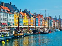 Nyhavn Copenhagen Denmark. Copenhagen, Denmark - June 2016: waterfront canal and entertainment district Nyhavn royalty free stock photos