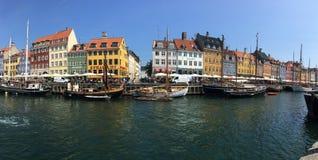 Nyhavn in Copenhagen panorama Stock Photos