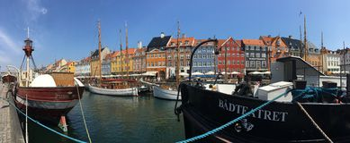 Nyhavn in Copenhagen panorama Royalty Free Stock Photography