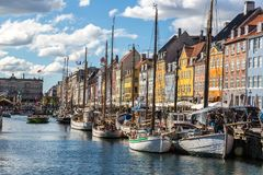 Nyhavn district in Copenhagen royalty free stock images