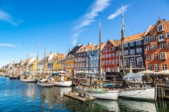 Nyhavn district in Copenhagen stock images