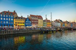 Nyhavn district is one of the most famous landmarks in Copenhage. N, Denmark Royalty Free Stock Photos