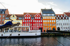 Nyhavn district is one of the most famous landmarks in Copenhagen Stock Images