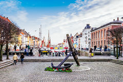 Nyhavn district is one of the most famous landmarks in Copenhagen with typical colorful houses and water canals Stock Photography