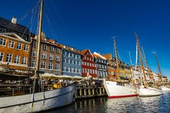 Nyhavn em Copenhaga, Dinamarca Fotos de Stock