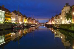 Nyhavn em Copenhaga, Dinamarca fotos de stock royalty free