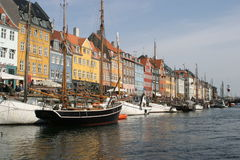 Nyhavn Harbor in Copenhagen. Denmark was once old sailors' quarters and the home of Hans Christian Andersen stock photo