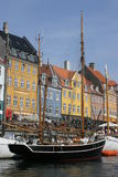 Nyhavn Harbor in Copenhagen. Denmark was once old sailors' quarters and the home of Hans Christian Andersen stock image