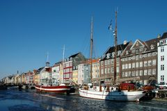 Nyhavn harbour. In winter (Copehagen, Denmark royalty free stock image