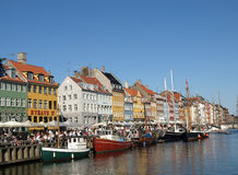 Nyhavn harbour in copenhagen denmark Royalty Free Stock Photos