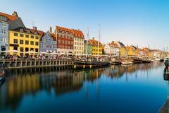 Nyhavn harbour in copenhagen denmark Royalty Free Stock Images