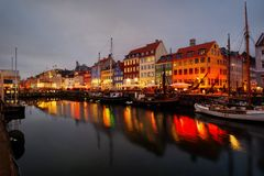 Nyhavn Harbour Copenhagen stock photography