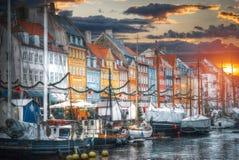Nyhavn ist der alte Hafen von Kopenhagen Lizenzfreies Stockfoto