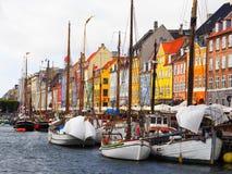 Nyhavn, Kanaal in Kopenhagen, Denemarken royalty-vrije stock foto