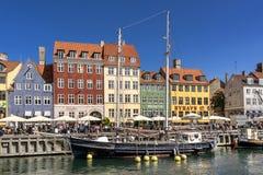 Nyhavn in Kopenhagen Stockfotos