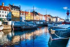 Nyhavn, Kopenhagen, Dänemark stockbilder