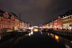 Nyhavn Kopenhagen Denemarken Stock Foto's