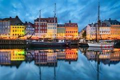 Nyhavn in Kopenhagen, Denemarken Stock Afbeelding