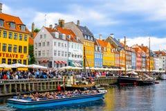 Nyhavn - Kopenhagen, Denemarken royalty-vrije stock foto's