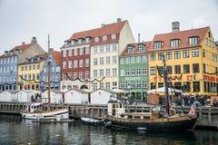 Nyhavn Nieuwe Haven Populair gebied van Kopenhagen denemarken royalty-vrije stock fotografie