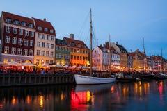 Nyhavn at night in Copenhagen, Denmark Stock Photo