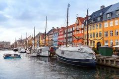 Nyhavn Nouveau port, Copenhague, Danemark Photographie stock