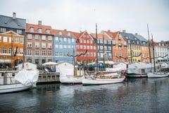 Nyhavn Nowy schronienie Popularny teren Kopenhaga Dani zdjęcie stock