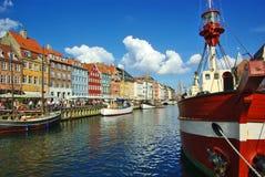 Nyhavn (nuevo puerto) en Copenhague Fotos de archivo libres de regalías