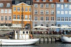 Nyhavn, o porto novo, Copenhaga imagem de stock