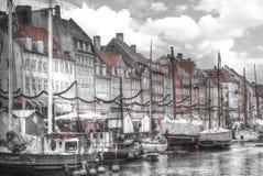Nyhavn is the old harbor of Copenhagen Stock Photo