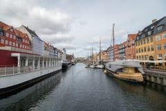 Nyhavn område i Köpenhamn, huvudstaden av Danmark Royaltyfria Foton