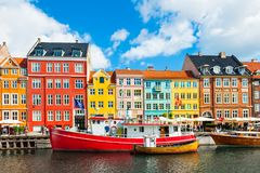 Nyhavn pier with colorful buildings in Copenhagen, Denmark Royalty Free Stock Image