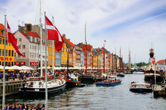 Nyhavn, porto novo, Copenhaga, Dinamarca Foto de Stock Royalty Free