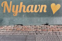 Nyhavn sign on a wall in Copenhagen. Denmark Stock Images