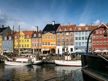 Nyhavn w Kopenhaga schronieniu, Dani Zdjęcia Stock