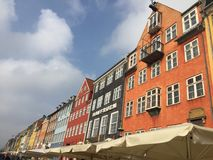 Nyhavngebouwen in Kopenhagen, Denemarken stock foto's