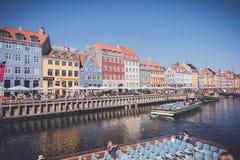 Nyhavnwaterkant, Kopenhagen, Denemarken stock fotografie