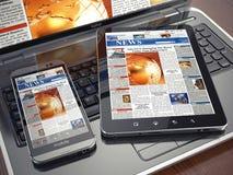 nyheterna Bärbar dator, minnestavlaPC, telefon och tidning Bärbar dator, tabletPC och smartphone stock illustrationer