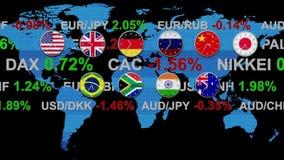 Nyheterna för aktiemarknad för forex för Tickerbrädevärld med klockor som går i realtidsöversikt för zonHUD jord på ny bakgrund - lager videofilmer