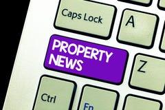 Nyheterna för egenskap för textteckenvisning Det begreppsmässiga fotoet gäller försäljningen och arrendet av egenskapen för affär arkivfoton