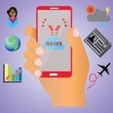 NYHETERNA på mobil Fotografering för Bildbyråer