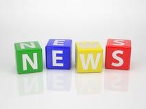 Nyheterna - serieord ut ur bokstav tärnar Arkivbild