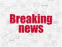 Nyheternabegrepp: Breaking news på väggbakgrund Arkivbilder