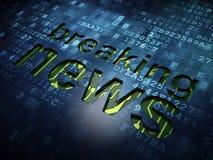 Nyheternabegrepp: Breaking news på den digitala skärmen Arkivfoto