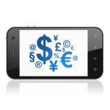 Nyheternabegrepp: Finanssymbol på smartphonen Royaltyfri Bild